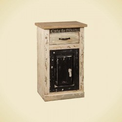Table de chevet beige en bois 1 tiroir 35 Karma