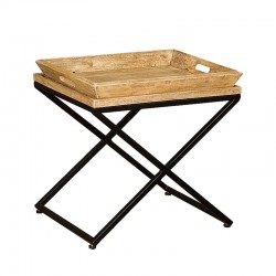 Table basse plateau en bois et métal 55 Karma