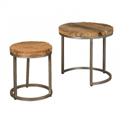 Ensemble tables basses bois et métal 55 Karma