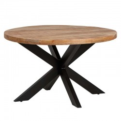 Table à manger ronde manguier et métal Pera