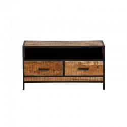 Meuble TV 2 tiroirs manguier et métal 100 pop