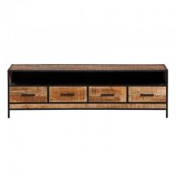Meuble TV 4 tiroirs manguier et métal 180 Pop