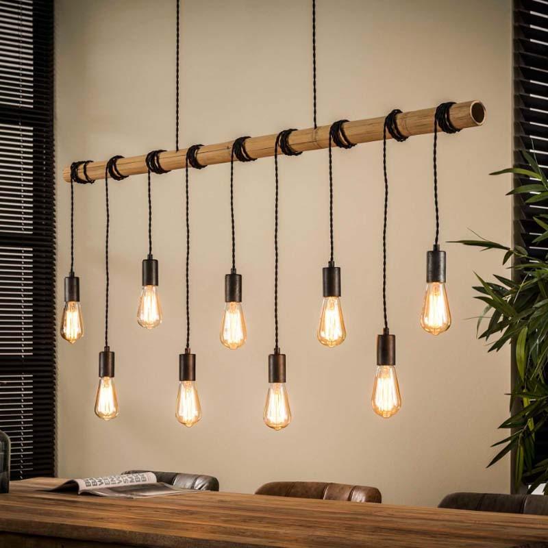 Suspension 9 ampoules suspendues à un tube en bambou