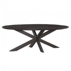 Table à manger ovale en manguier et métal Kolomby