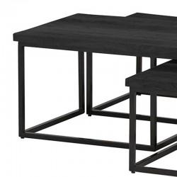 Ensemble 3 tables basses manguier et métal 120 Bons