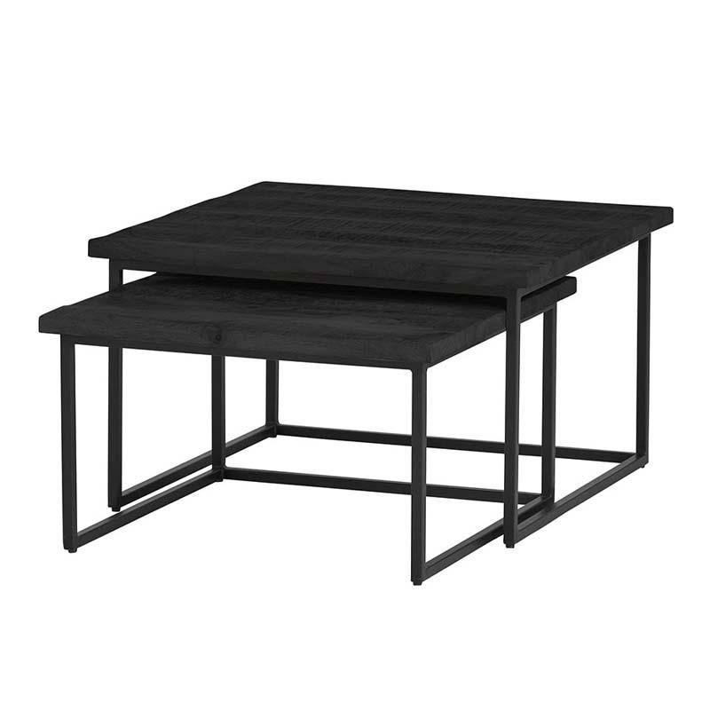 Ensemble 2 tables basses manguier et métal 80 Bons