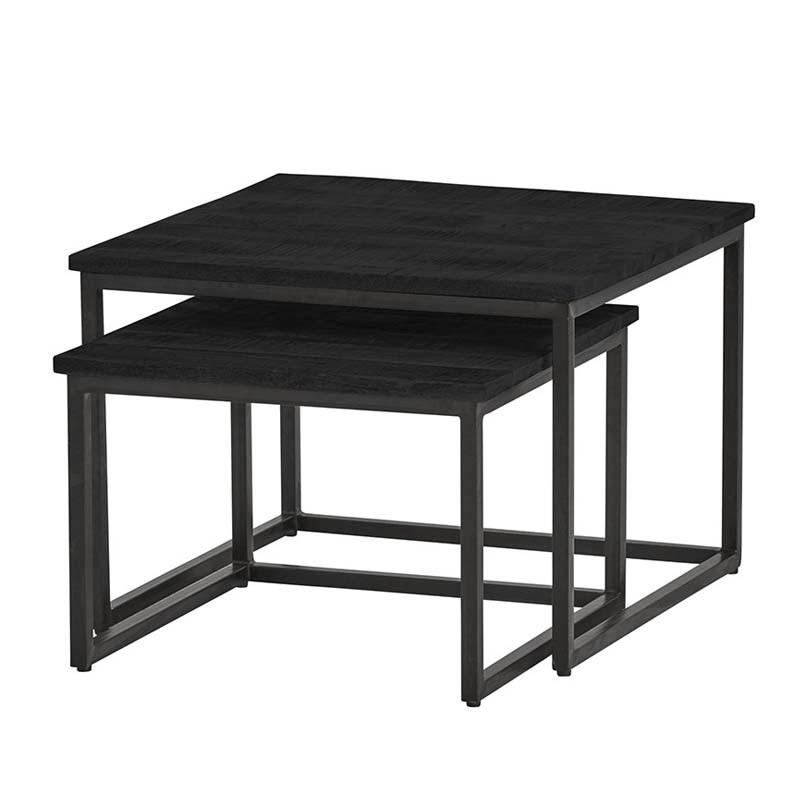 Ensemble 2 tables basses manguier et métal 60 Bonsy