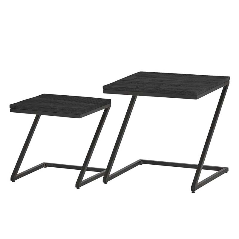 Ensemble 2 tables basses manguier et métal 50 Bonsy