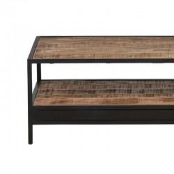 Table basse rectangle manguier et métal 120 Kurbo