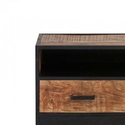 Meuble TV 2 tiroirs manguier métal 100 Kurbo