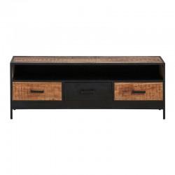 Meuble TV 3 tiroirs manguier métal 150 Kurbo