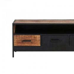 Meuble TV 4 tiroirs manguier métal 180 Kurbo