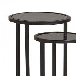 Ensemble tables basses en marbre et métal 40 Mabel