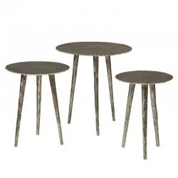 Ensemble 3 tables basses sur trépieds Megara