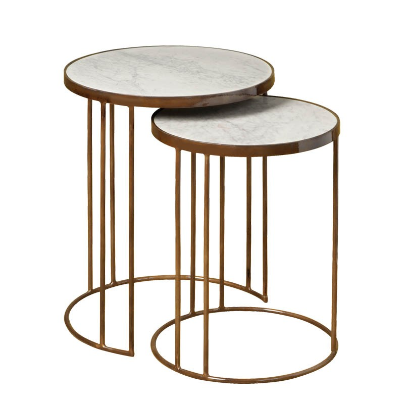 Ensemble 2 tables rondes vintage Megara