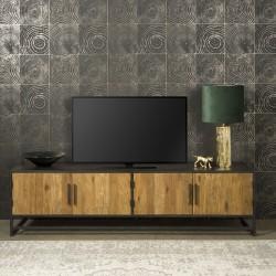 Meuble TV 4 portes en teck et métal 200 Felindra