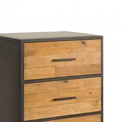 Commode 3 tiroirs en teck et métal 65 Felindra