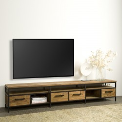 Meuble TV en teck et métal 240 Livarna
