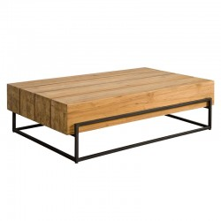 Table basse rectangle en teck et métal 135 Mazzy