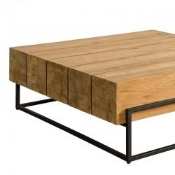 Table basse carrée en teck et métal 110 Mazzy