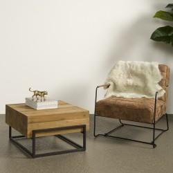 Table basse carrée en teck et métal carrée 65 Mazzy