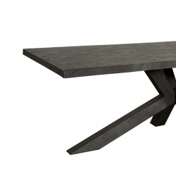 Table à manger en acacia noir et en métal Sylvana