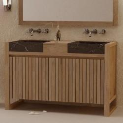 Meuble de salle de bain 2 portes teck