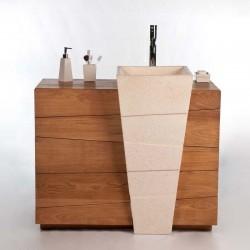 Meuble de salle de bain design en teck