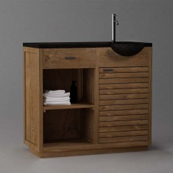 Meuble de salle de bain 1 porte 1 tiroir en teck
