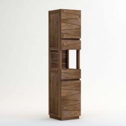 Colonne de salle de bain 2 portes 2 tiroirs en teck