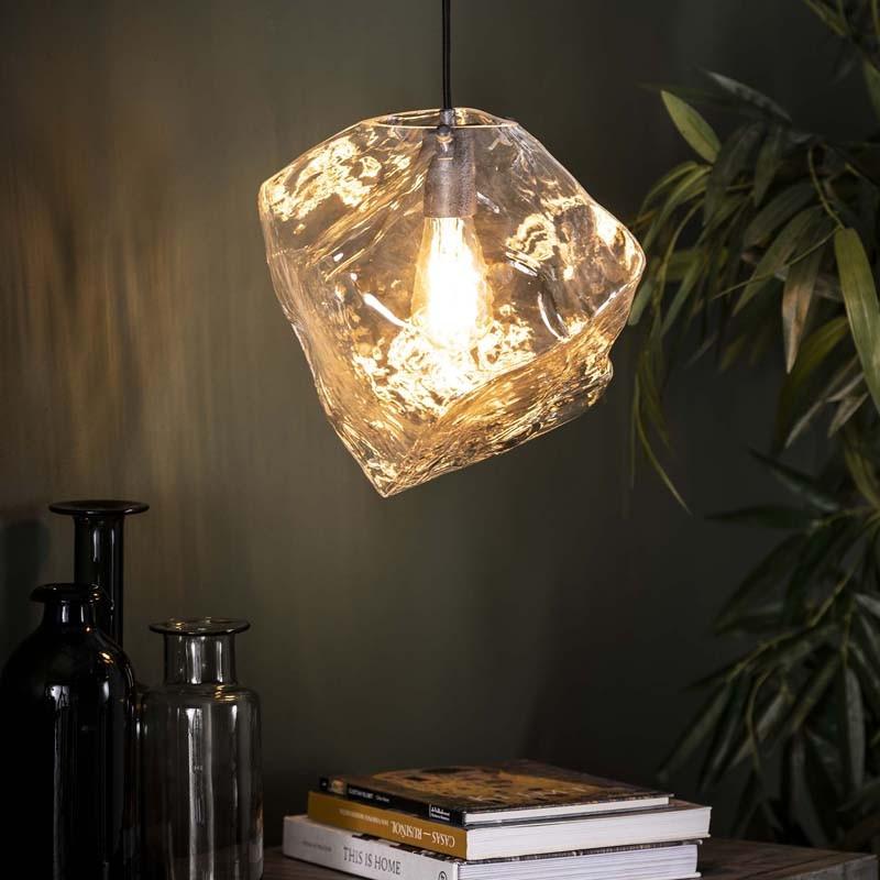 Suspension 1 lampe roche en verre