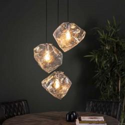 Suspension 3 lampes roches en verre