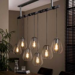 Suspension 7 lampes avec abat-jours ouverts