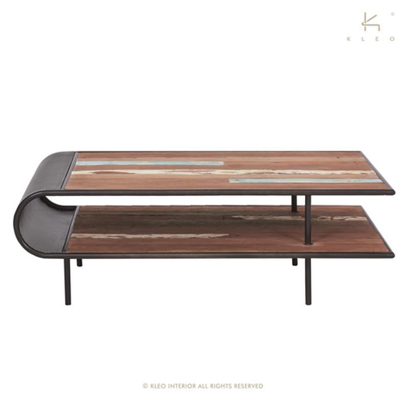 Table basse 120x70 en bois et métal Aru