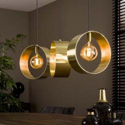 Suspension cercles dorés 3 ampoules