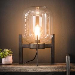 Lampe de table globe en verre sur pied en acier