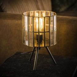 Lampe de table en verre sur trépied