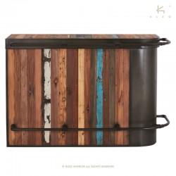 Bar industriel droit en bois et métal 165 Kleo