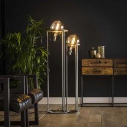 Lampadaire 2 ampoules dans structure en métal