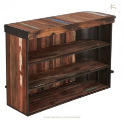 Bar industriel gauche en bois et métal 165 Kleo