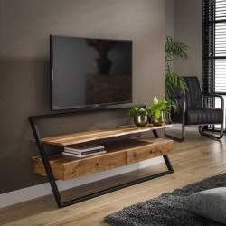Meuble TV en acacia adossé au mur