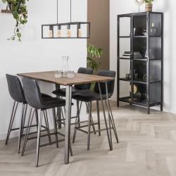 Table haute en chêne et métal