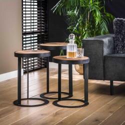Ensemble 3 tables basses rondes bois et métal