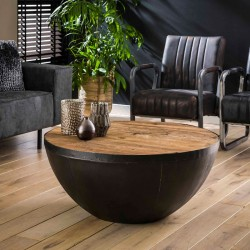 Table basse demi sphère en bois