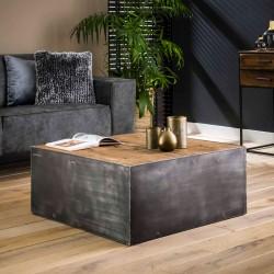 Table de salon cube bois et métal