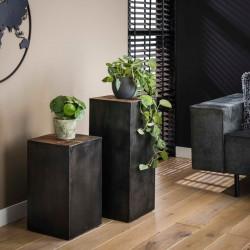 Table d'appoint carrée bois et métal
