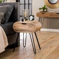 Table d'appoint acacia et métal pieds V
