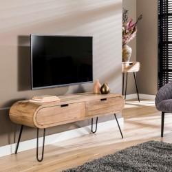 Meuble TV rond en manguier et métal
