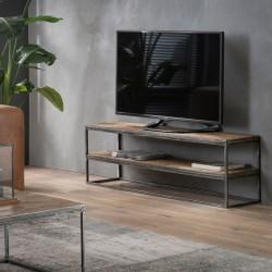 Meuble TV 2 plateaux en bois et métal
