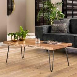 Table basse bords naturels en acacia